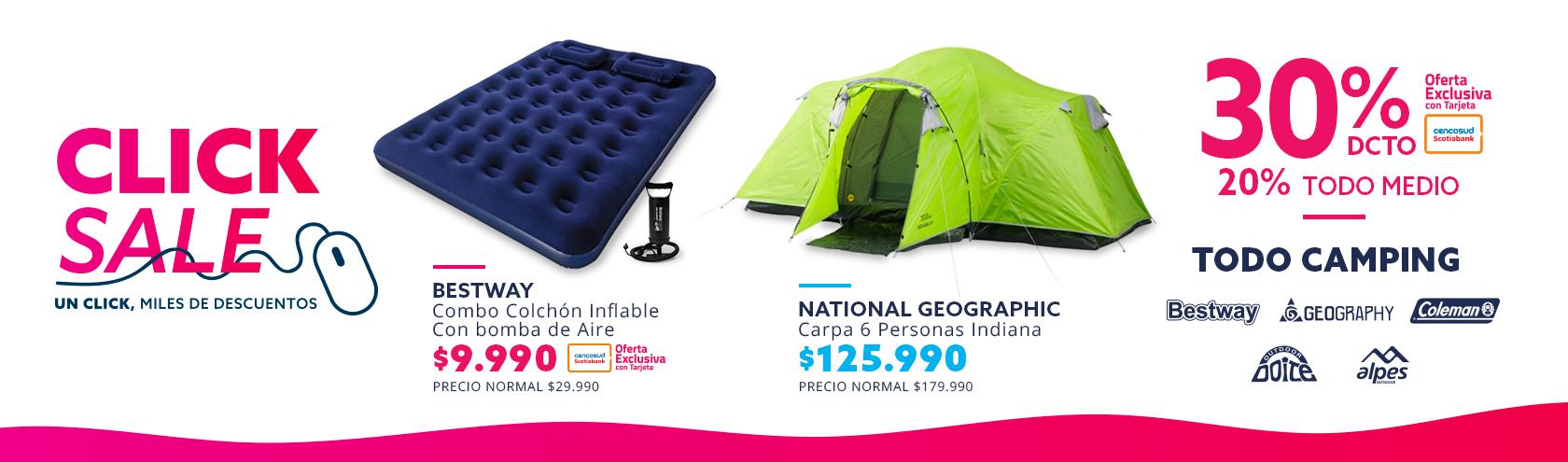 30/20 Todo Camping en Click Sale paris.cl