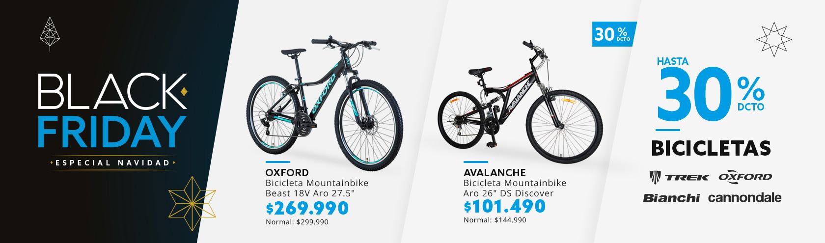 Hasta 30% de descuento en Bicicletas.