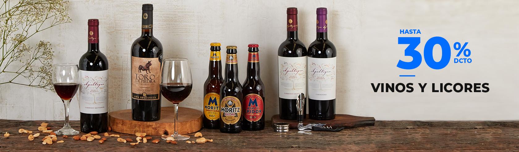 Hasta 30% de descuento en Vinos y Licores con todo medio de pago