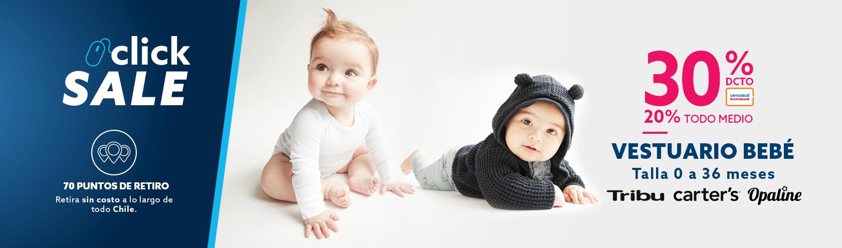 30% de descuento con tarjeta cencosud y 20% de descuento todo medio en vestuario recien nacidos