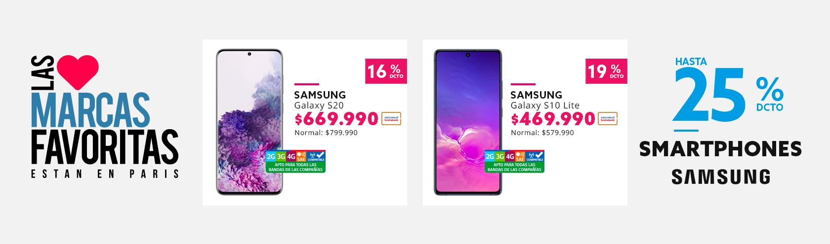 Hasta 25% de descuento en Celulares Samsung con Tarjeta Cencosud