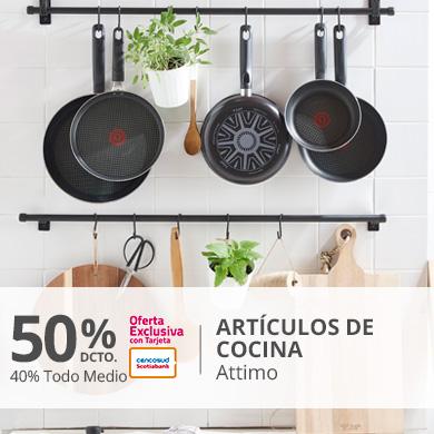 Hasta 50 por ciento menos con tarjeta de credito y 40 por ciento menos todo medio en articulos de cocina attimo