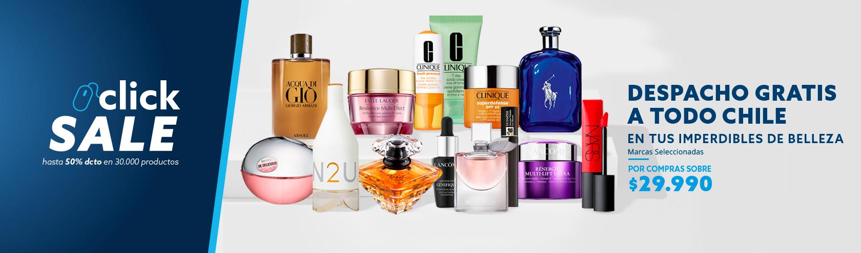Compras sobre 29.990 pesos despacho gratis en perfumes y articulos de belleza