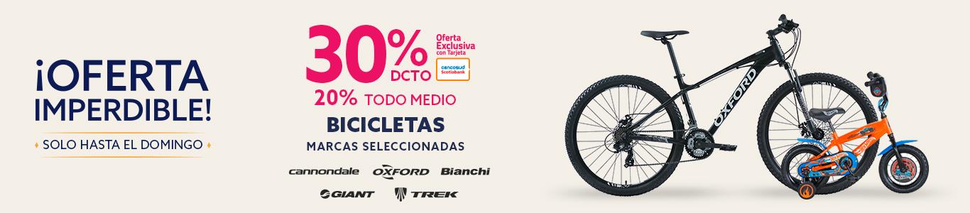 30 por ciento de descuento con tarjeta cencosud y 20 por ciento de descuento todo medio en bicicletas