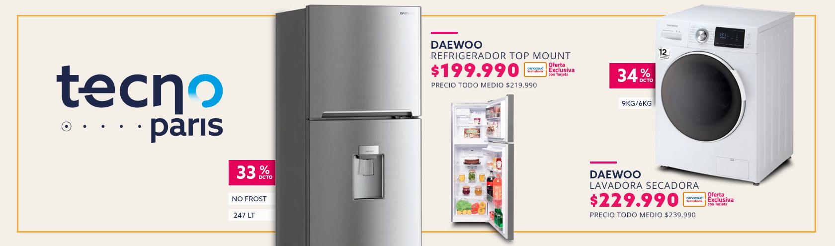 Refrigerador Top Mount Daewoo No Frost 247 Litros RGE27DIP