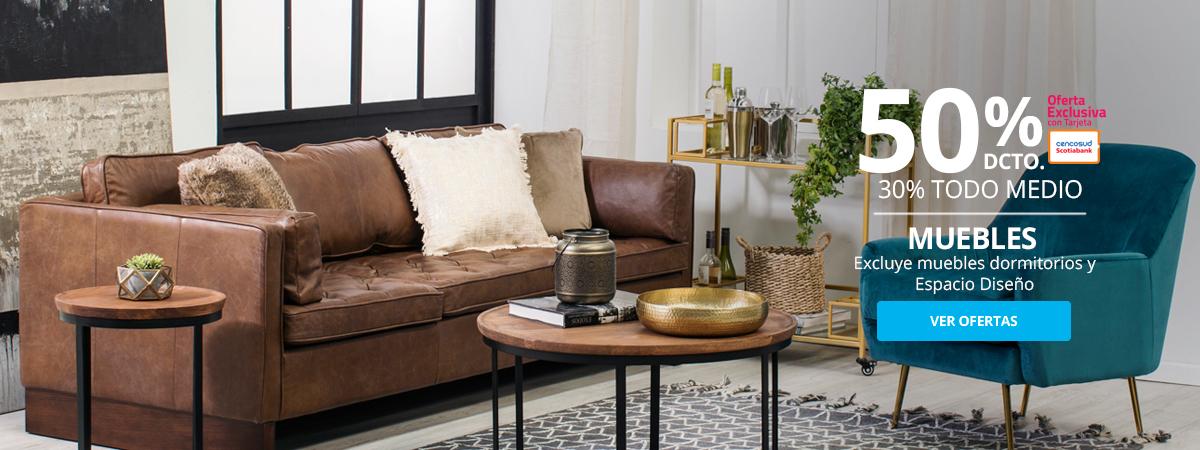 50 por ciento menos con tarjeta cencosud y 30 por ciento menos todo medio en Muebles excluye muebles dormitorio y espacio diseño