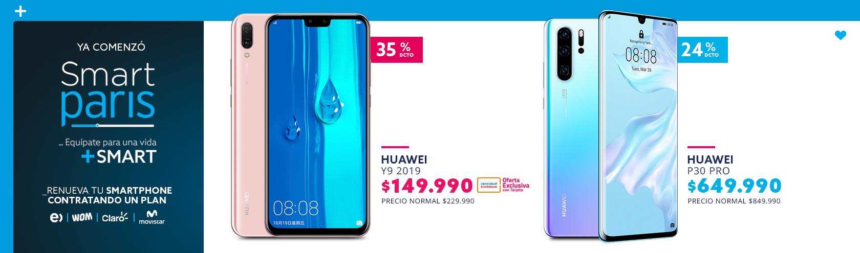 35 por ciento de descuento con tarjeta cencosud en Huawei y9 2019