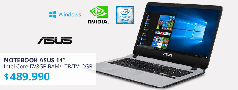 Notebook Asus Intel Core I7/8GB RAM/1TB/TV: 2GB Nvidia GeForce MX110/14