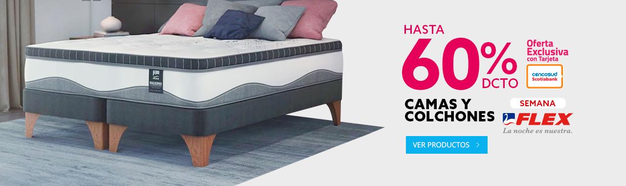 Hasta 60 porciento de descuento en camas y colchones flex con tarjeta Cencosud