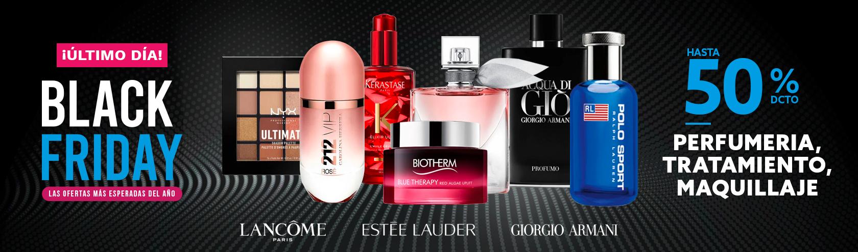 Hasta 50 porciento de descuento en Perfumeria, Tratamiento, Maquillaje