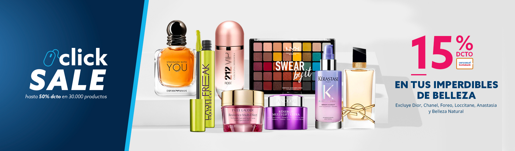 15% de descuento con Tarjeta Cencosud en tus Imperdibles de Belleza. Excluye Dior, Chanel, Foreo, Loccitane, Anastasia y Belleza Natural