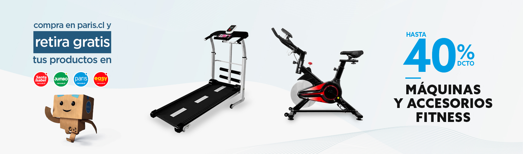 Hasta 40% dcto en máquinas y accesorios fitness
