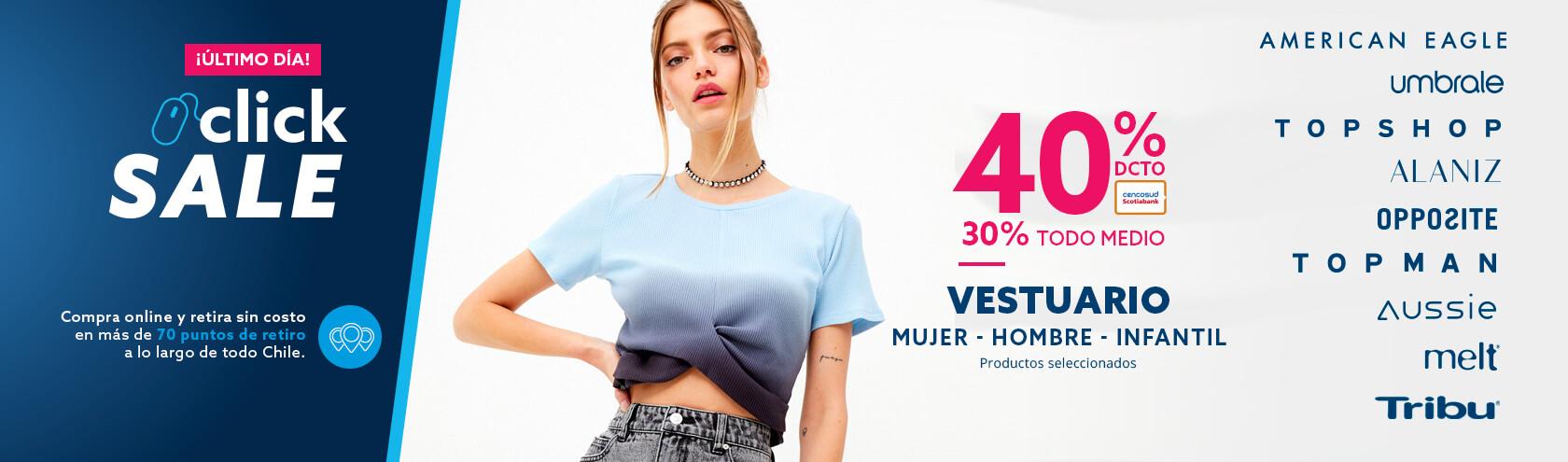 40% de descuento con tarjeta cencosud y 30% de descuento todo medio de pago en productos seleccionados moda hombre mujer infantil