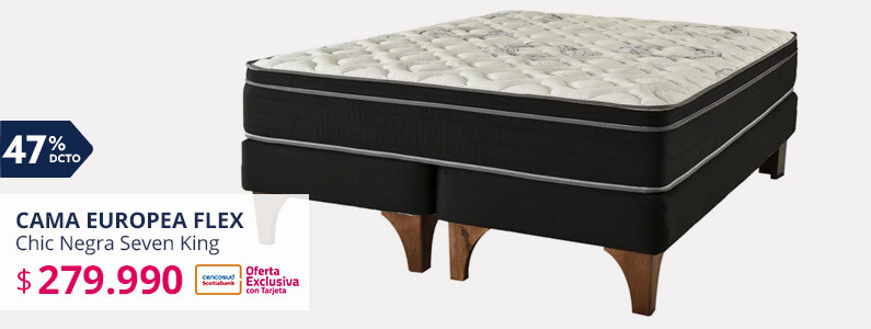 Cama Europea Chic Negra Seven King Flex