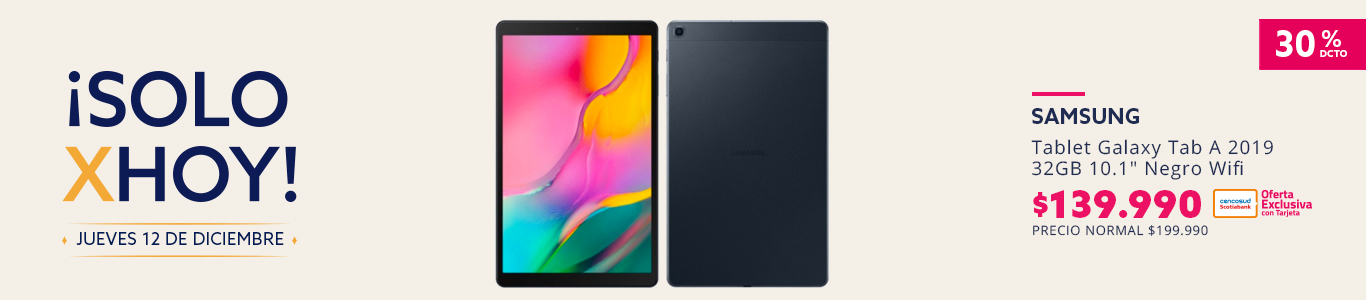 Solo por hoy, Tablet Samsung Galaxy Tab A 2019 32GB 10.1 Negro Wifi