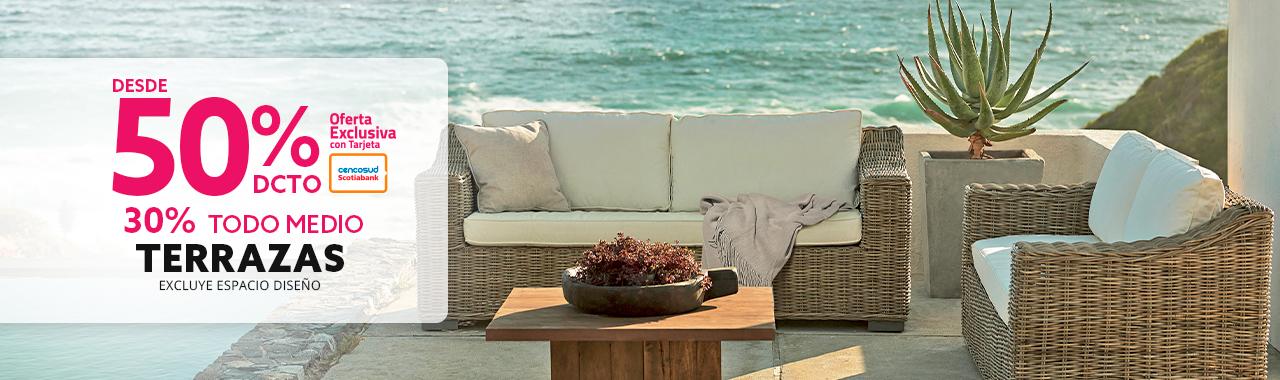 Hasta 50 por ciento de descuento con tarjeta cencosud en terrazas