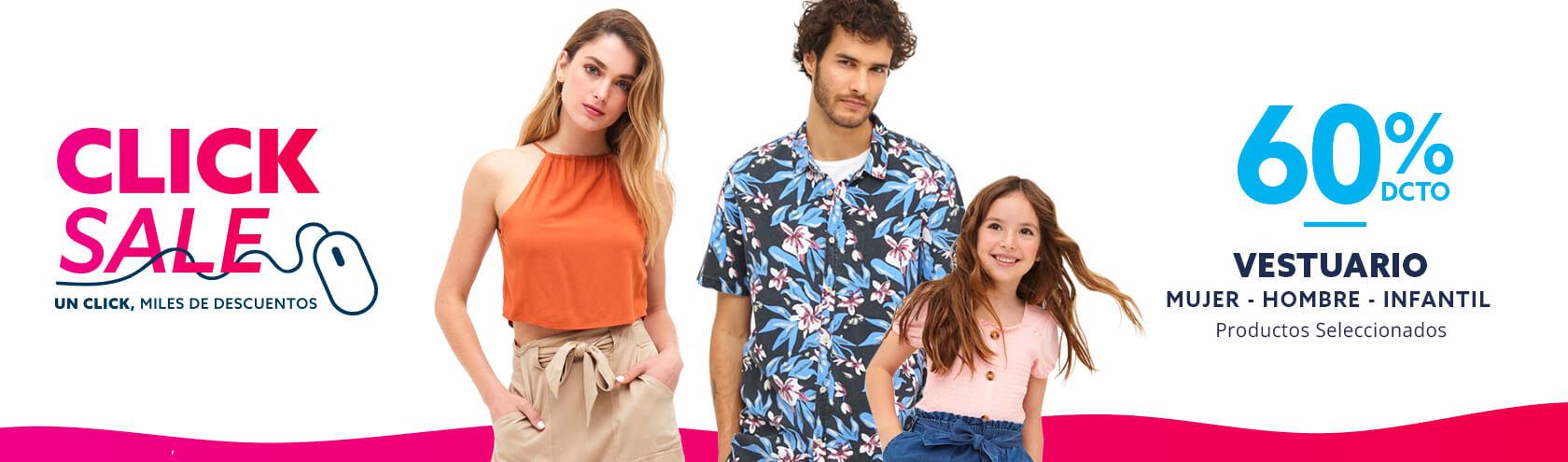 Hasta 70 porciento de descuento vestuario hombre, mujer e infantil en Click Sale paris.cl