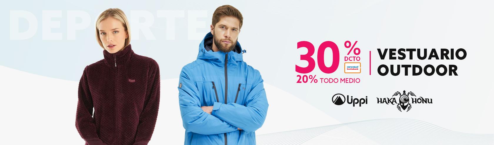 30% de descuento con tarjeta de credito y 20% de descuento todo medio de pago en vestuario outdoor