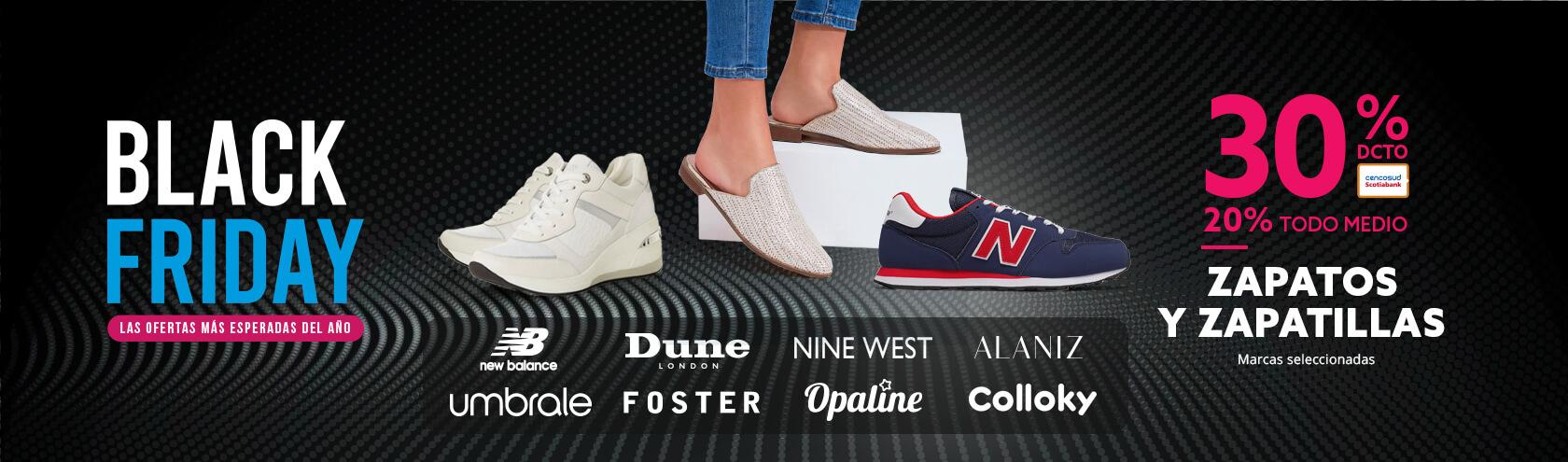 30% de descuento con Tarjeta Cencosud y 20% todo medio de pago zapatos y zapatillas marcas seleccionadas
