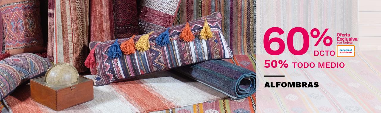 Hasta 60 por ciento de descuento con tarjeta cencosud y 50 por ciento de descuento todo medio de pago en alfombras