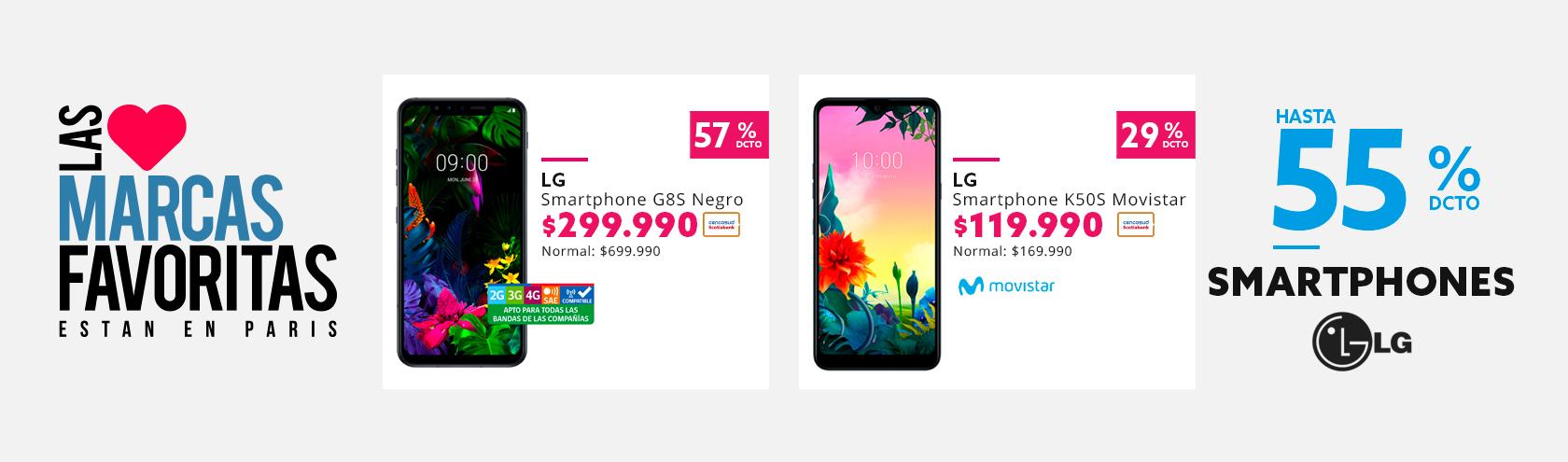 Hasta 55% de dcto en celulares LG con Tarjeta Cencosud