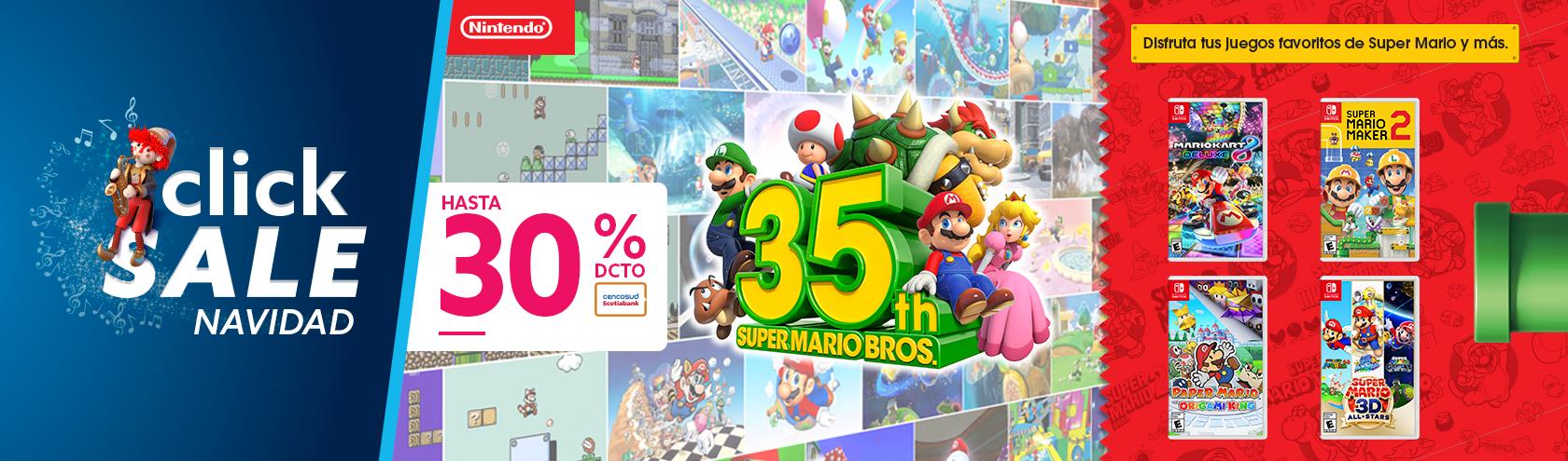 Hasta 30 porciento de descuento en Nintendo con tarjeta cencosud