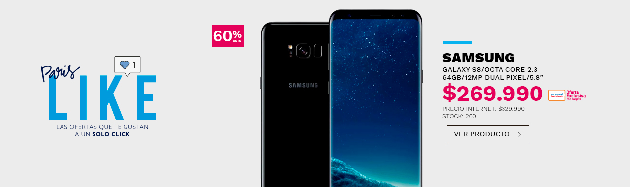 SAMSUNG GALAXY S8/OCTA CORE 2.3/64GB/12MP DUAL PIXEL/5.8