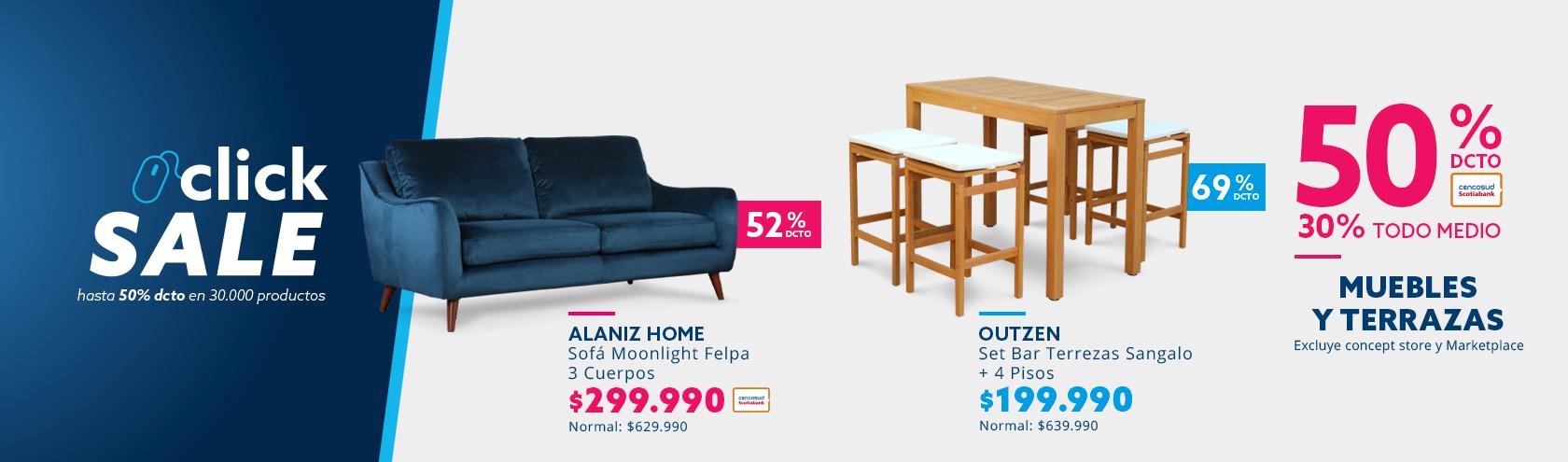 50/30 de dcto en Muebles y Terrazas. Excluye concept store y Marketplace
