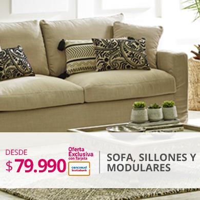 Desde 79990 pesos con tarjeta de credito en sofas living y modulares
