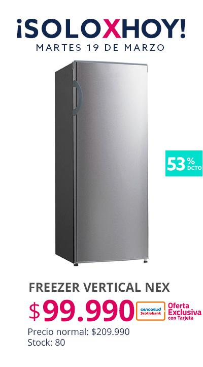 Freezer Vertical Frio Directo Nex a 99990 pesos con tarjeta cencosud