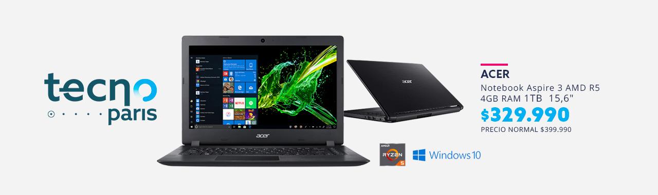 Notebook Acer Aspire 3 AMD R5 4GB RAM 1TB