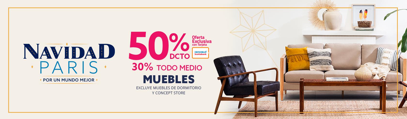 50/30 MUEBLES. EXCLUYE MUEBLES DE DORMITORIO Y CONCEPT STORE