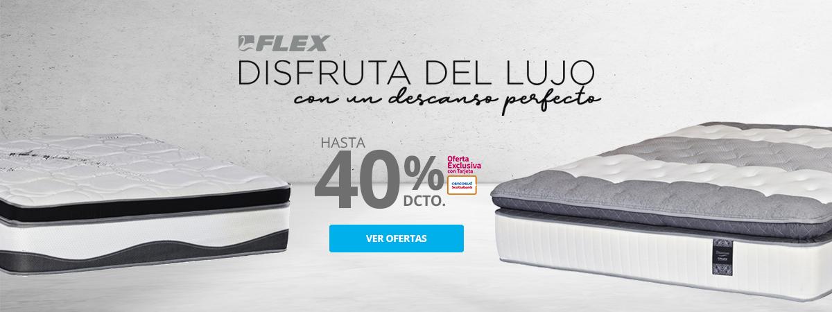 Hasta 40 por ciento de descuento en camas y colchones Flex pagando con Tarjeta Cencosud