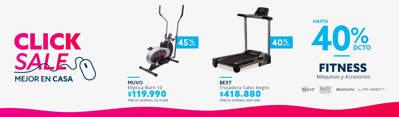 Hasta 40% de dcto en Fitness, máquinas y accesorios