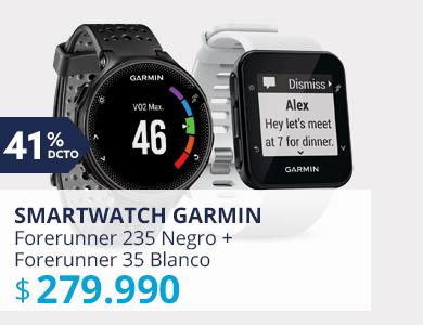 Smartwatch Garmin Forerunner 235 Negro + Smartwatch Garmin Forerunner 35 Blanco