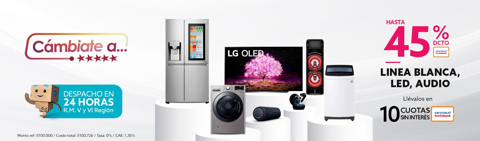 Hasta 45% dcto con tarjeta cencosud en LG, Línea blanca, led y audio