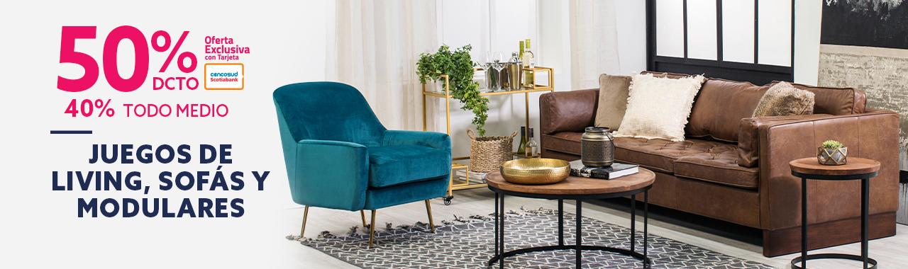 50 por ciento de descuento con tarjeta cencosud y 40 por ciento todo medio de pago en sofas sillones y modulares