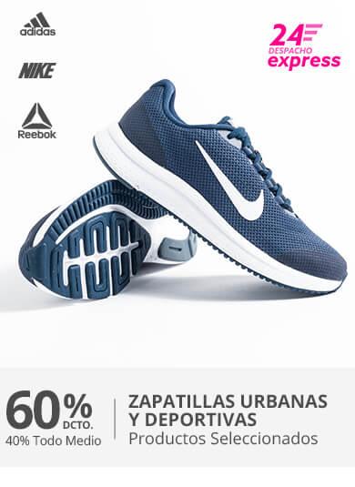 60 porciento menos en Zapatillas Urbanas y Deportivas