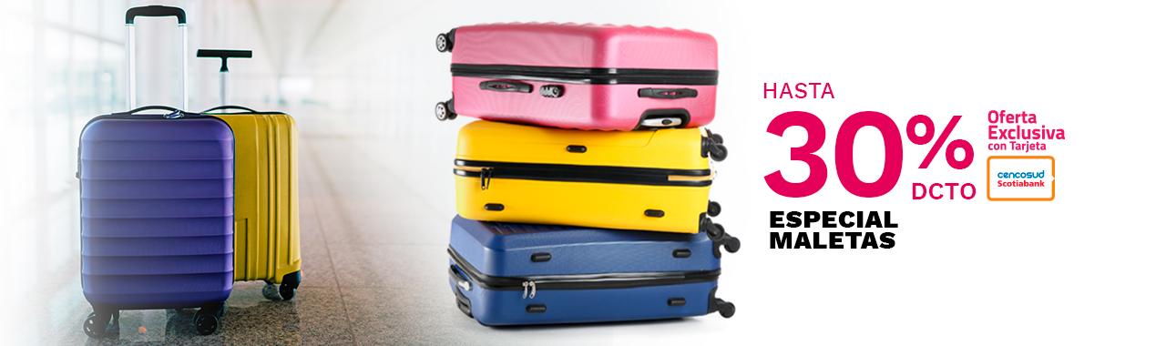 Hasta 30 por ciento de descuento todo medio de pago en maletas
