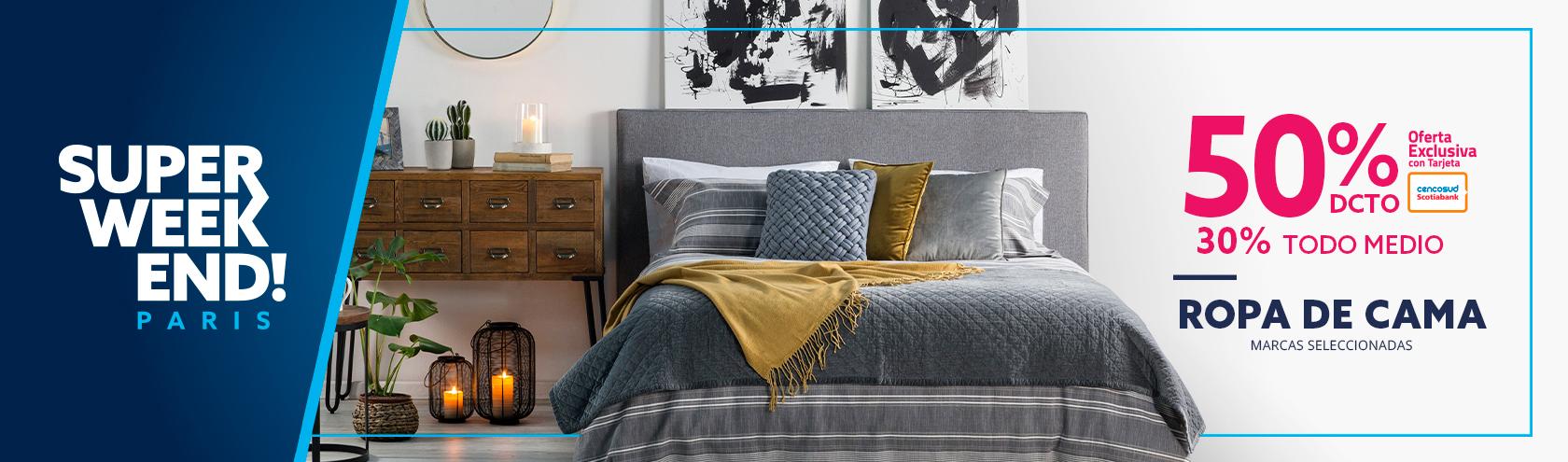 50 porciento de descuento en ropa de cama con tarjeta cencosud