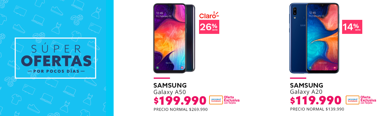 Samsung Galaxy A50 a $199.990 con Tarjeta Cencosud