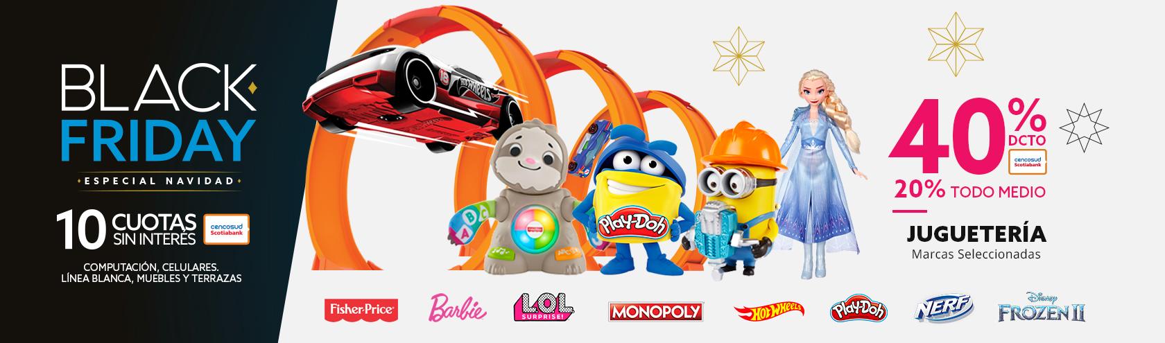 40% descuento con tarjeta cencosud y 20% de descuento con todo medio de pago en juguetes marcas seleccionadas