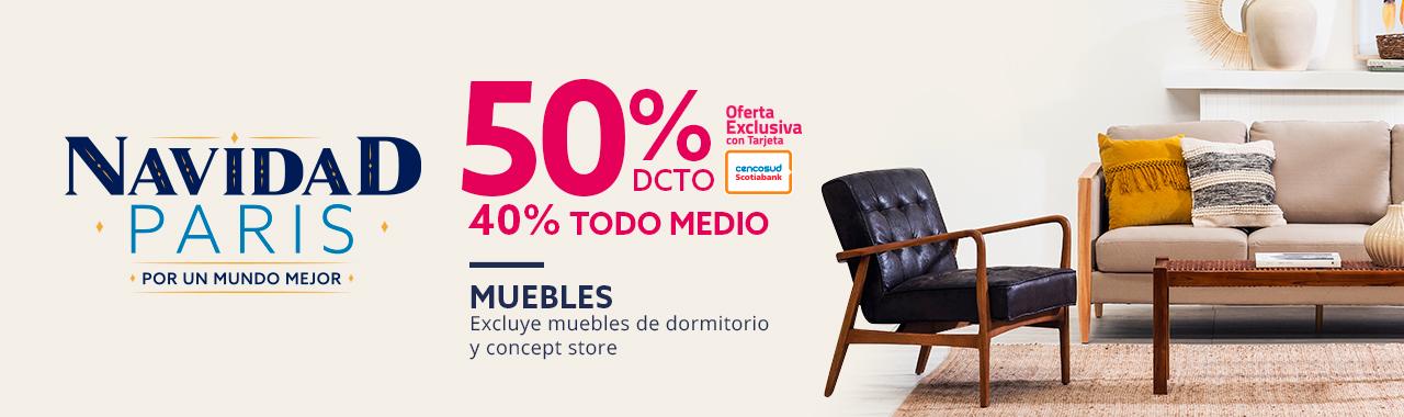 50 por ciento de descuento con tarjeta cencosud y 40 por ciento de descuento todo medio en muebles