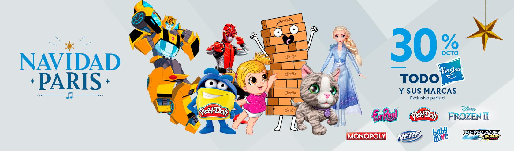 Especial Hasbro 30% de descuento con todo medio de pago todas sus marcas exclusivo paris.cl