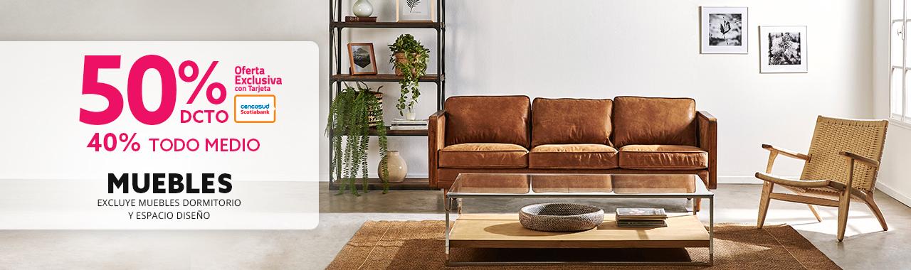 50 por ciento de descuento con tarjeta cencosud y 40 por ciento todo medio de pago en muebles excluye espacio diseño