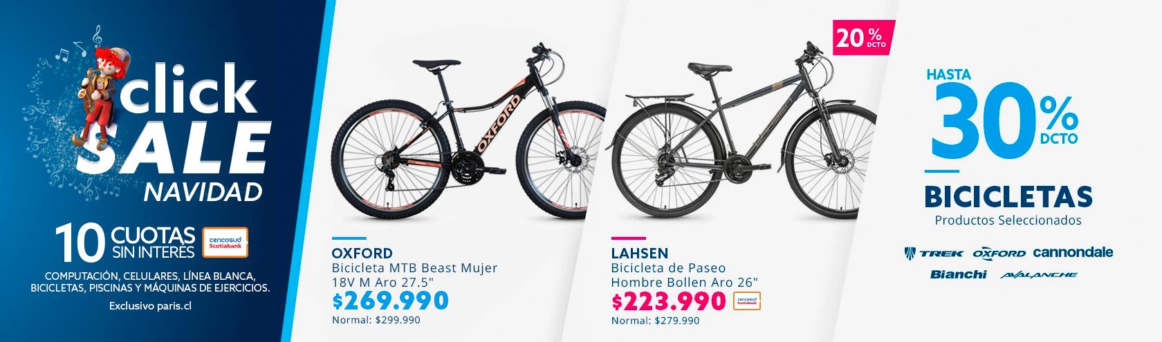 30% de descuento con todo medio de pago en bicicletas