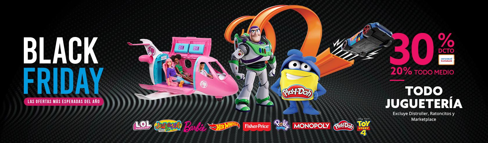 30% de descuento con tarjeta Cencosud y 20% de descuento todo medio en juguetes excepto distroller ratoncitos y market place