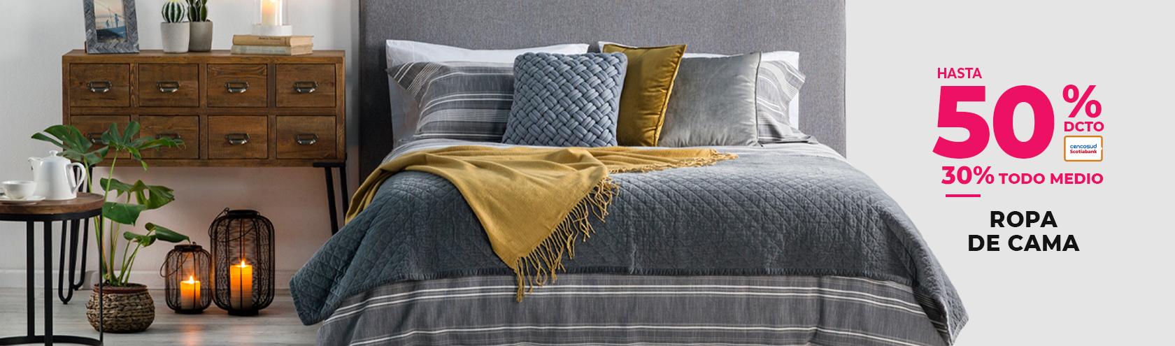 Hasta 40% de descuento con tarjeta cencosud en ropa de cama