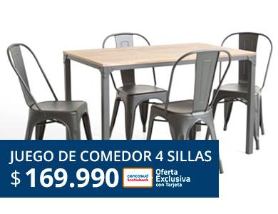 Juego de comedor 4 sillas a 174990 pesos todo medio