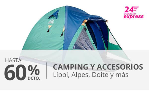 Hasta 60 porciento en camping y accesorios